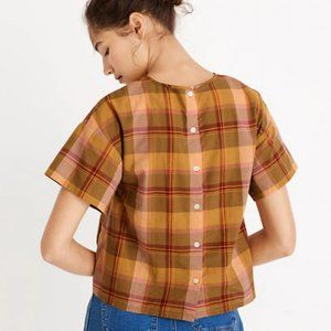 Madewell Boxy Button-Back Top in Plaid